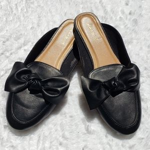 Bamboo Faux Leather Mules with Bow